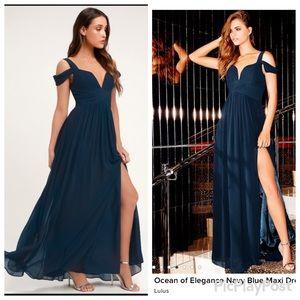 Lulu's Ocean of Elegance Navy Blue Maxi Dress